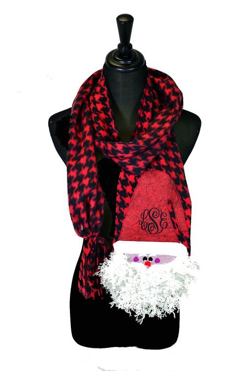 monogrammed santa christmas scarf hounds tooth