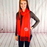 monogrammed cashmere scarf