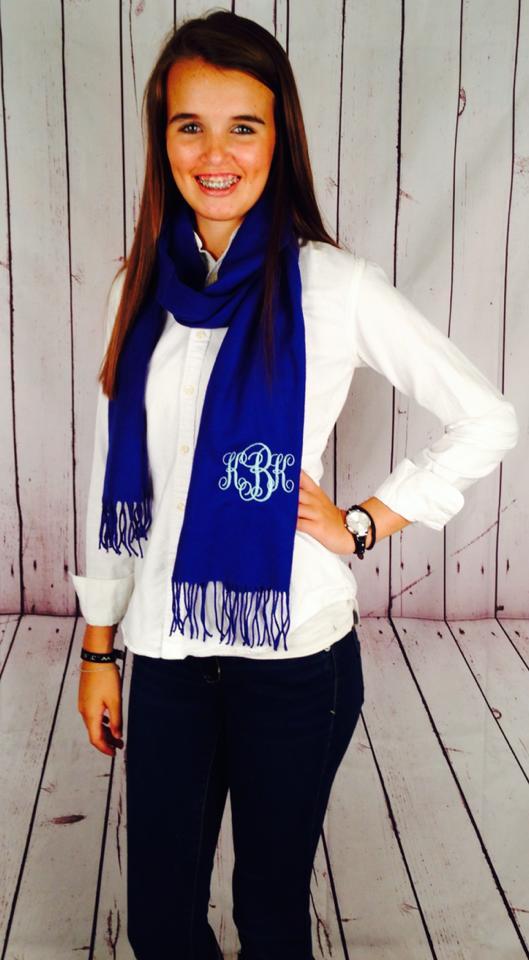 monogrammed cashmere scarf - royal blue