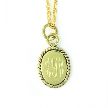 gold pendant monogrammed necklace
