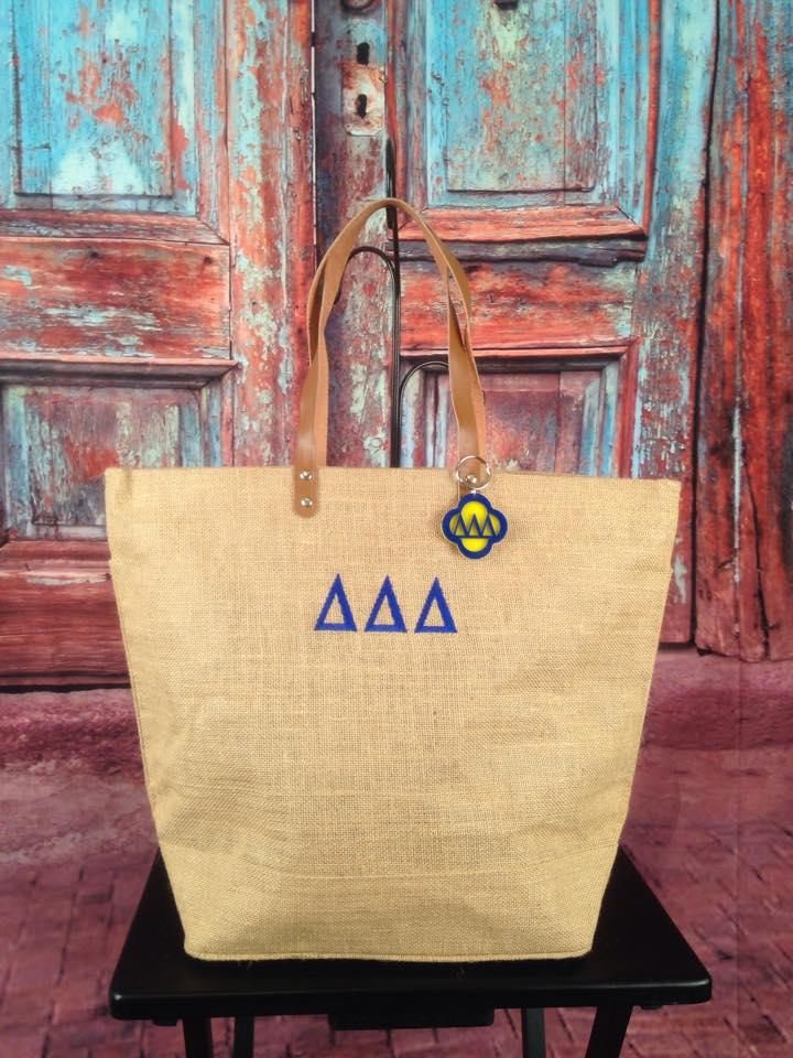 greek monogrammed jute tote bag