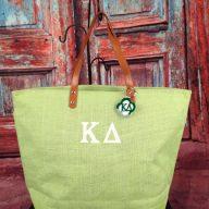 Monogrammed Jute Tote Bag