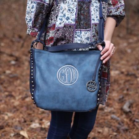 monogrammed studded purse