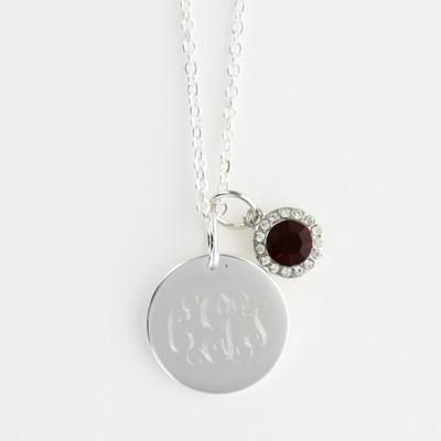 monogrammed birthstone Necklace
