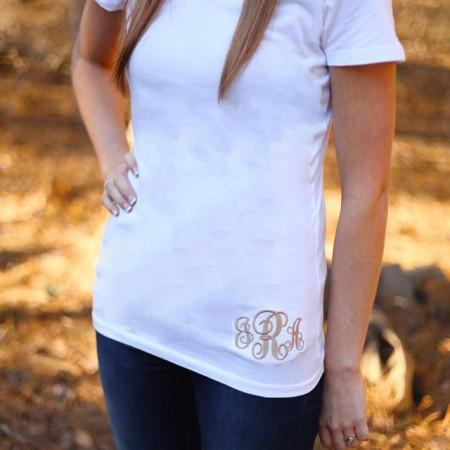 monogrammed v-neck t-shirt
