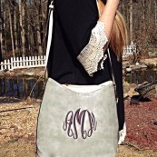 monogrammed bucket hobo purse