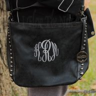 Monogrammed Crossbody Studded Purse - Black Grey