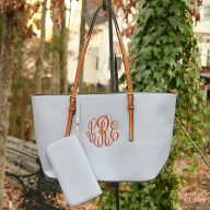 Monogrammed Caroline Bag - Grey
