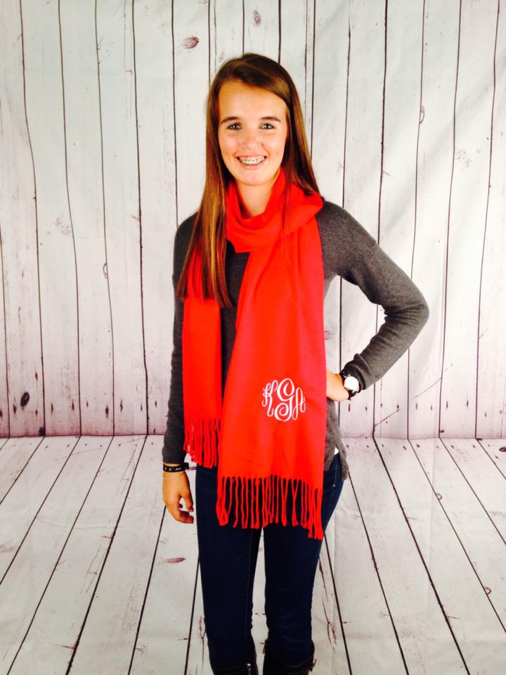 monogrammed cashmere scarf -red