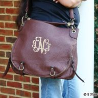 Monogrammed Large Hobo Purse Brown