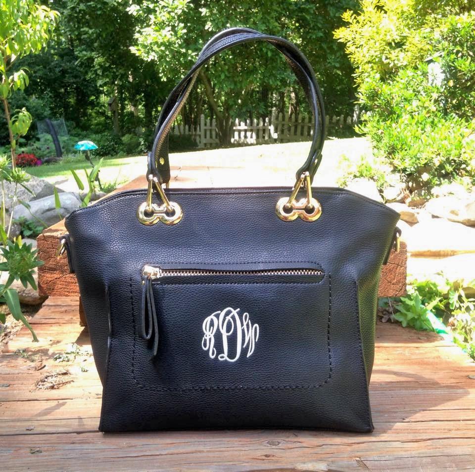 monogrammed purse - black caitlin