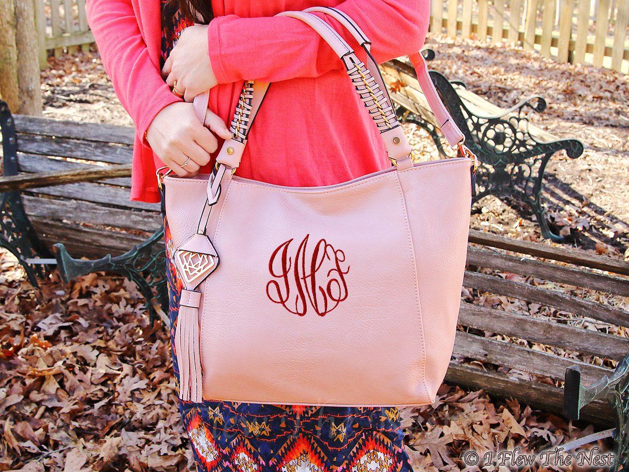 belle monogrammed tote bag with golden tassel i flew the nest