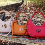 Hayley Monogrammed Hobo Bags with Tassel