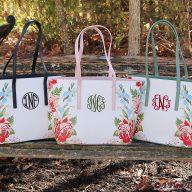 Floral Caroline Monogrammed Bags