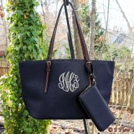 Caroline Monogrammed Purse with Wallet - Black