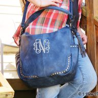 Hanah Monogrammed Hobo Bag - Denim