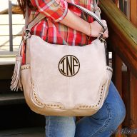 Hanah Monogrammed Hobo Bag - Blush