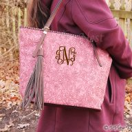 Camellia Floral embossed Monogrammed Tote - Rose