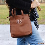 Monogrammed Emma Mini Hobo Crossbody - Brown